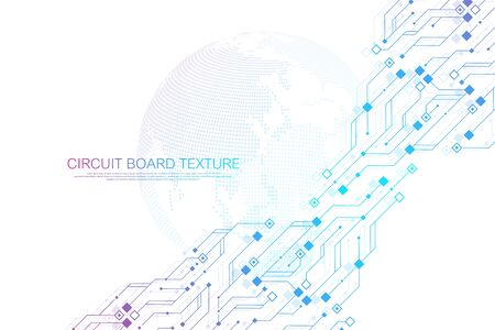 Photo pour Technology abstract circuit board texture background. High-tech futuristic circuit board banner wallpaper. Engineering electronic motherboard vector illustration. Technological communication concept. - image libre de droit