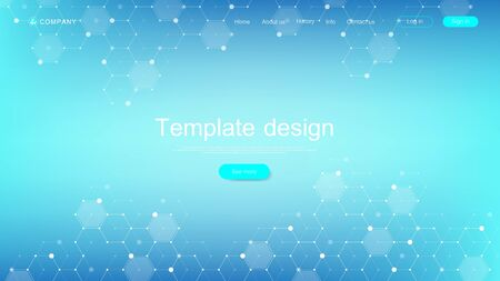 Photo pour Medical landing page template design. Abstract health care banner template. Asbtract scientific background with hexagons. Innovation pattern. Vector illustration - image libre de droit