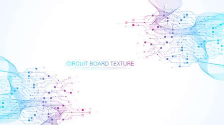 Foto de Abstract background with High-tech technology texture circuit board texture. Abstract circuit board banner wallpaper. Electronic motherboard vector illustration - Imagen libre de derechos