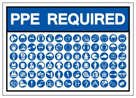 PPE Required Symbol Sign, Vector Illustration, Isolated On White Background Label .EPS10