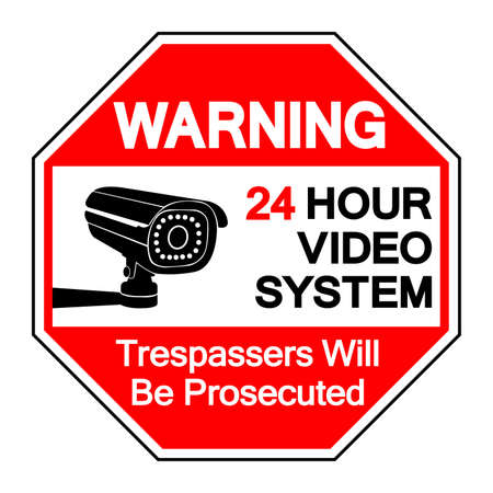 Warning 24 Hour Video System Trespassers Will Be Prosecuted Symbol Sign, Vector Illustration, Isolate On White Background Label .EPS10
