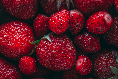 Photo for Strawberry and wild strawberry macro closeup texture - Royalty Free Image