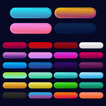 Illustration pour Icon set multi colored button in flat style. Easy editable vector isolated illustration. - image libre de droit