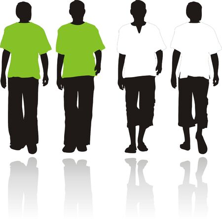 Silhouettes of men in a summer clothes.