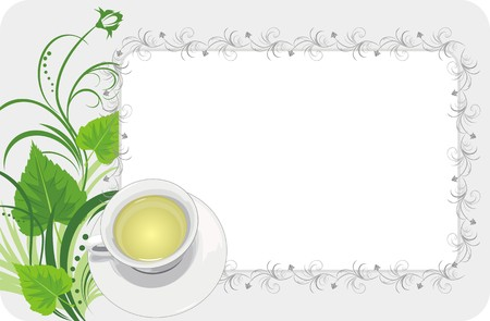 Cup with tea on the floral background. Card