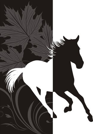 Silhouette of hurrying horse on the abstract background