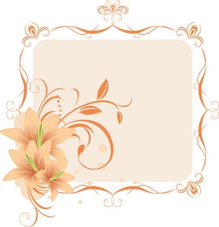 Illustration for Lilies in the decorative frame - Royalty Free Image
