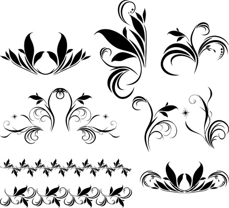Set of decorative floral elements for design