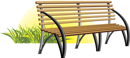 Incredible Wooden Bench Among A Grass Royalty Free Vector Graphics Machost Co Dining Chair Design Ideas Machostcouk