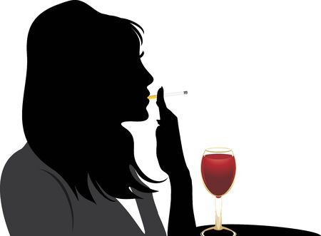 Silhouette of smoking woman with glass of red wine