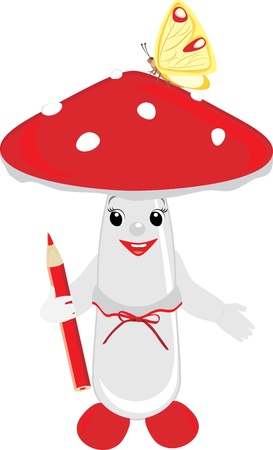 Cartoon of fly agaric mushroom