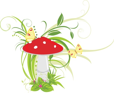 Fly agaric mushroom and butterflies