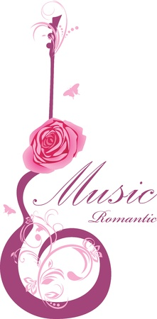 Abstract guitar with rose. Romantic music