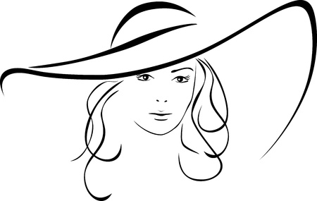 Illustration pour Silhouette of beautiful woman in a elegant hat - image libre de droit