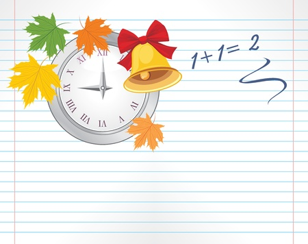 Notebook page with watch, maple leaves and school bell