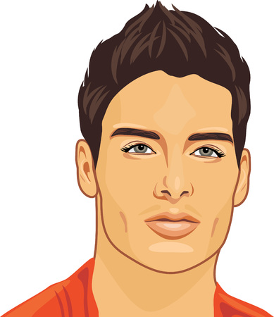 Illustration pour Portrait of a young beautiful man - image libre de droit