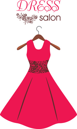 Ilustración de Red dress on hanger. Dress salon. Sign for fashion design - Imagen libre de derechos