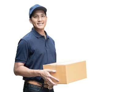 Photo pour Asian delivery man or passenger holding a cardboard box ready to delivery isolated with clipping path and copy space on white background. - image libre de droit