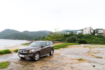 Mercedes-Benz GL 500 Off Road Car 2013 Model in wet zone