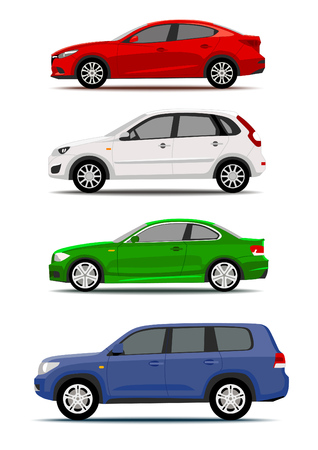 Illustration pour Colorful cars collection isolated on white. Icon or label design - image libre de droit