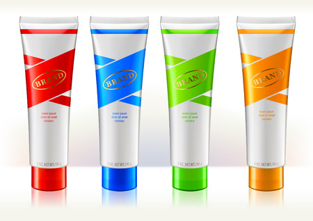 Illustration pour Tube conteiners design template. Colorful labels. Containers are for beauty or skin care products. - image libre de droit