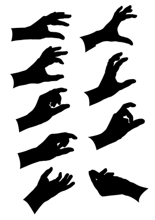 Gestures of hands collection. Black silhouettes on white