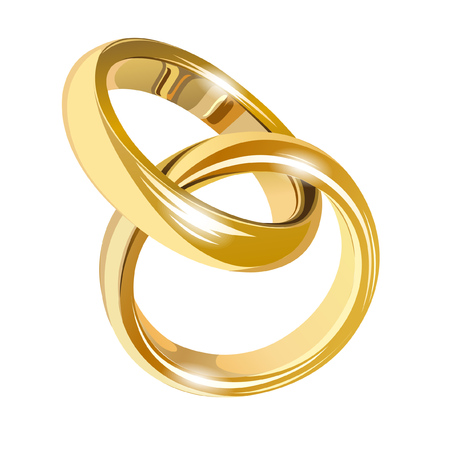 Illustration for Wedding gold rings isolated on white - Royalty Free Image
