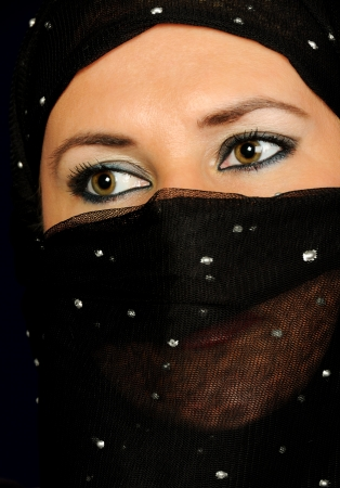 Close up picture of a Muslim woman wearing a black veil