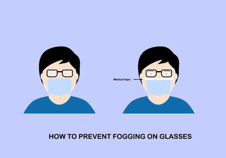 Illustration pour Illustration of how to prevent fogging on protective mask on eyeglasses. Man wearing hygienic mask with medical tape on. - image libre de droit
