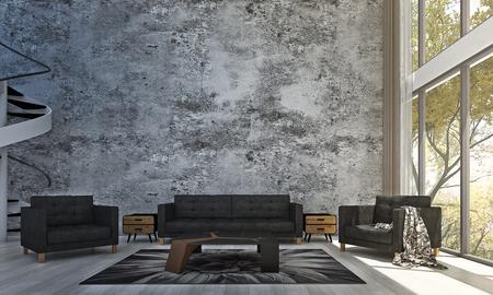 Photo pour The living room interior design and concrete wall and tree garden - image libre de droit