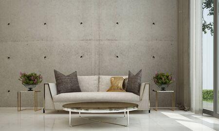 Photo pour 3D rendering interior design of minimal living room and concrete wall - image libre de droit