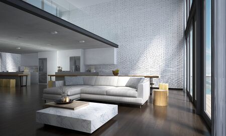 Photo pour The lounge and double space living room and kitchen interior design and concrete wall background - image libre de droit