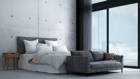 Photo pour Modern tropical bedroom interior design and concrete wall background - image libre de droit
