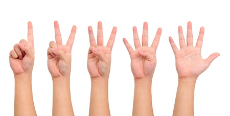 Photo for Compilation of counting hand sign  isolated on white - Royalty Free Image