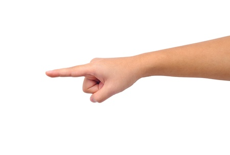 Human hand pointing isolated on white