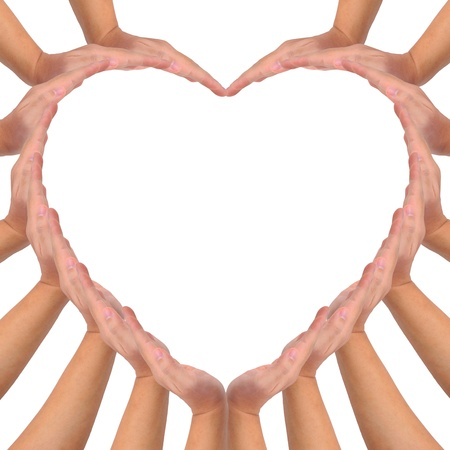 Photo for Conceptual symbol of love. Hands making a heart shape on white background with a copy space in the middle - Royalty Free Image