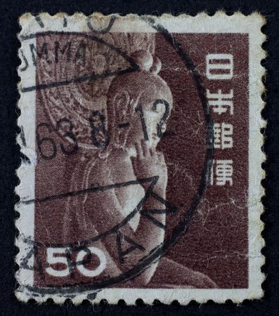 JAPAN - CIRCA 1952: A stamp shows Miroku Bosatsu wood statue in Chugu-ji, Nara perfecture, printed in Japan circa 1952.