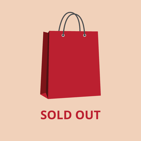 sold out red shopping paper bag bags vector illustration