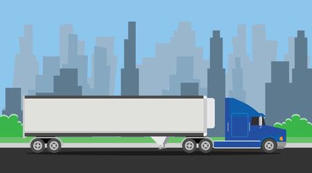 Illustration for truck trailer blue transportation on the highway with city background vector illustration - Royalty Free Image