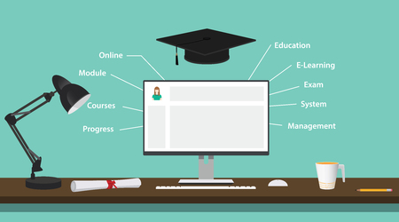 Illustration pour lms learning management system with computer pc education elearning system vector graphic illustration - image libre de droit