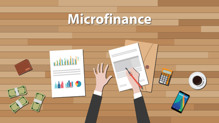 Illustration pour microfinance person work in his table on some paper document with graph and chart vector graphic illustration - image libre de droit