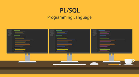 Illustration of PL SQL programming language code displayed on three monitor in a row at programmer workspace