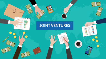 discussion group about joint ventures in a meeting illustration with paperworks, coins, folder document littered on top table