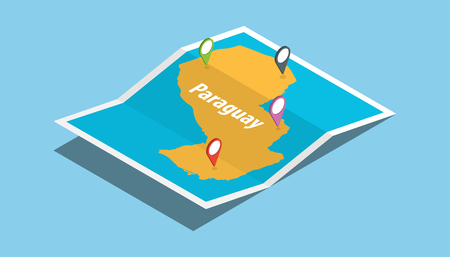 explore paraguay maps with isometric style and pin location tag on top vector illustration