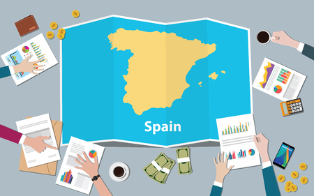 Illustration pour spain economy country growth nation team discuss with fold maps view from top vector illustration - image libre de droit