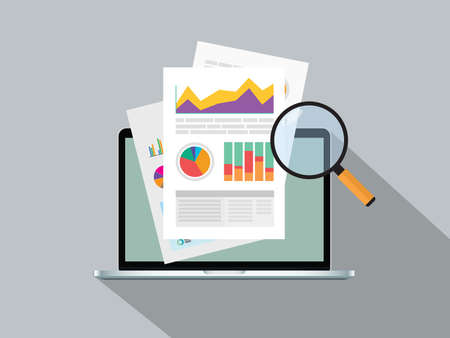 Illustration for business report paper with graph online on top of notebook vector graphic illustration - Royalty Free Image
