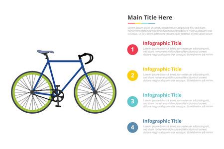 Illustration pour bicycle sport speed infographics template with 4 points of free space text description - vector illustration - image libre de droit
