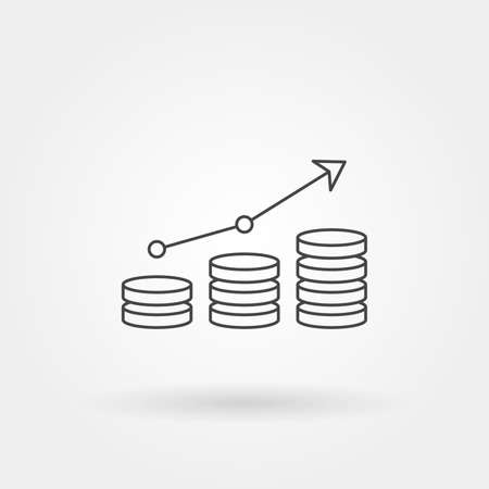Illustration for graph up single isolated icon with modern line or outline style - Royalty Free Image