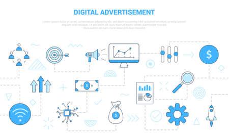 Photo pour digital advertisement concept with icon set template banner with modern blue color style vector illustration - image libre de droit