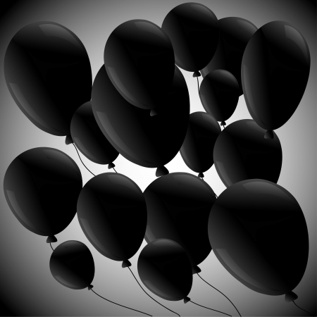black balloons on a diagonal on a gray background
